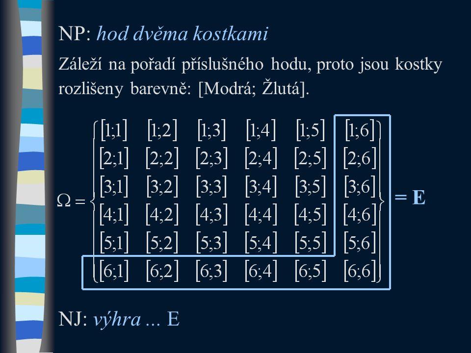NP: hod dvěma kostkami Záleží na pořadí příslušného hodu, proto jsou kostky rozlišeny barevně: [Modrá; Žlutá]. NJ: výhra... E = E