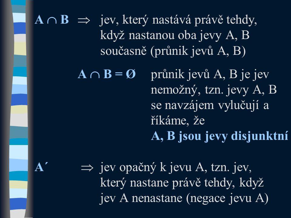 A  B  jev, který nastává právě tehdy, když nastanou oba jevy A, B současně (průnik jevů A, B) A  B = Øprůnik jevů A, B je jev nemožný, tzn. jevy A,