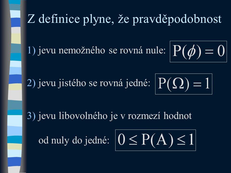 2)jevu jistého se rovná jedné: 1)jevu nemožného se rovná nule: Z definice plyne, že pravděpodobnost 3)jevu libovolného je v rozmezí hodnot od nuly do