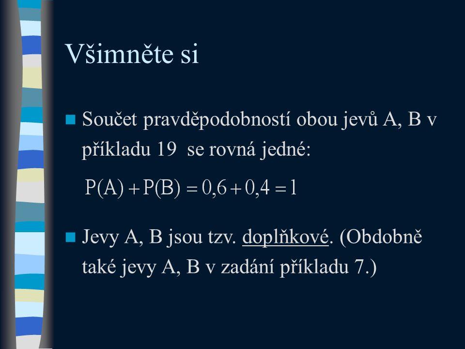 Všimněte si Součet pravděpodobností obou jevů A, B v příkladu 19 se rovná jedné: Jevy A, B jsou tzv. doplňkové. (Obdobně také jevy A, B v zadání příkl