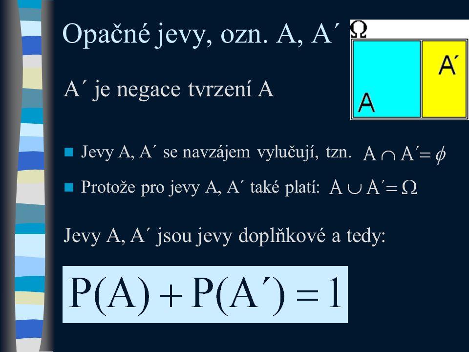 Opačné jevy, ozn. A, A´ Jevy A, A´ jsou jevy doplňkové a tedy: A´ je negace tvrzení A Jevy A, A´ se navzájem vylučují, tzn. Protože pro jevy A, A´ tak