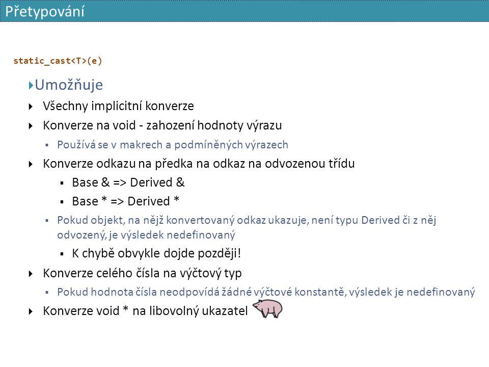 Přetypování static_cast (e)  Umožňuje  Všechny implicitní konverze  Konverze na void - zahození hodnoty výrazu  Používá se v makrech a podmíněných výrazech  Konverze odkazu na předka na odkaz na odvozenou třídu  Base & => Derived &  Base * => Derived *  Pokud objekt, na nějž konvertovaný odkaz ukazuje, není typu Derived či z něj odvozený, je výsledek nedefinovaný  K chybě obvykle dojde později.