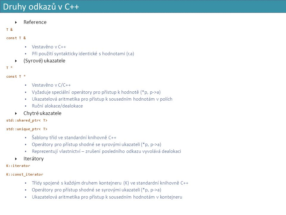 Druhy odkazů v C++  Reference T & const T &  Vestavěno v C++  Při použití syntakticky identické s hodnotami (r.a)  (Syrové) ukazatele T * const T *  Vestavěno v C/C++  Vyžaduje speciální operátory pro přístup k hodnotě (*p, p->a)  Ukazatelová aritmetika pro přístup k sousedním hodnotám v polích  Ruční alokace/dealokace  Chytré ukazatele std::shared_ptr std::unique_ptr  Šablony tříd ve standardní knihovně C++  Operátory pro přístup shodné se syrovými ukazateli (*p, p->a)  Reprezentují vlastnictví – zrušení posledního odkazu vyvolává dealokaci  Iterátory K::iterator K::const_iterator  Třídy spojené s každým druhem kontejneru (K) ve standardní knihovně C++  Operátory pro přístup shodné se syrovými ukazateli (*p, p->a)  Ukazatelová aritmetika pro přístup k sousedním hodnotám v kontejneru