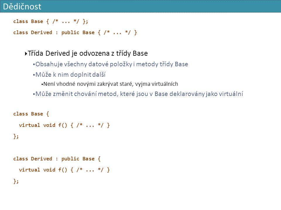 Dědičnost class Base { /*... */ }; class Derived : public Base { /*...
