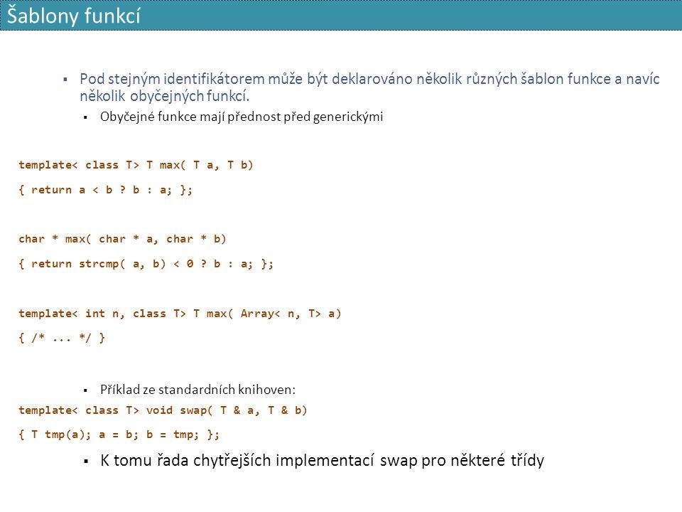 Šablony funkcí  Pod stejným identifikátorem může být deklarováno několik různých šablon funkce a navíc několik obyčejných funkcí.