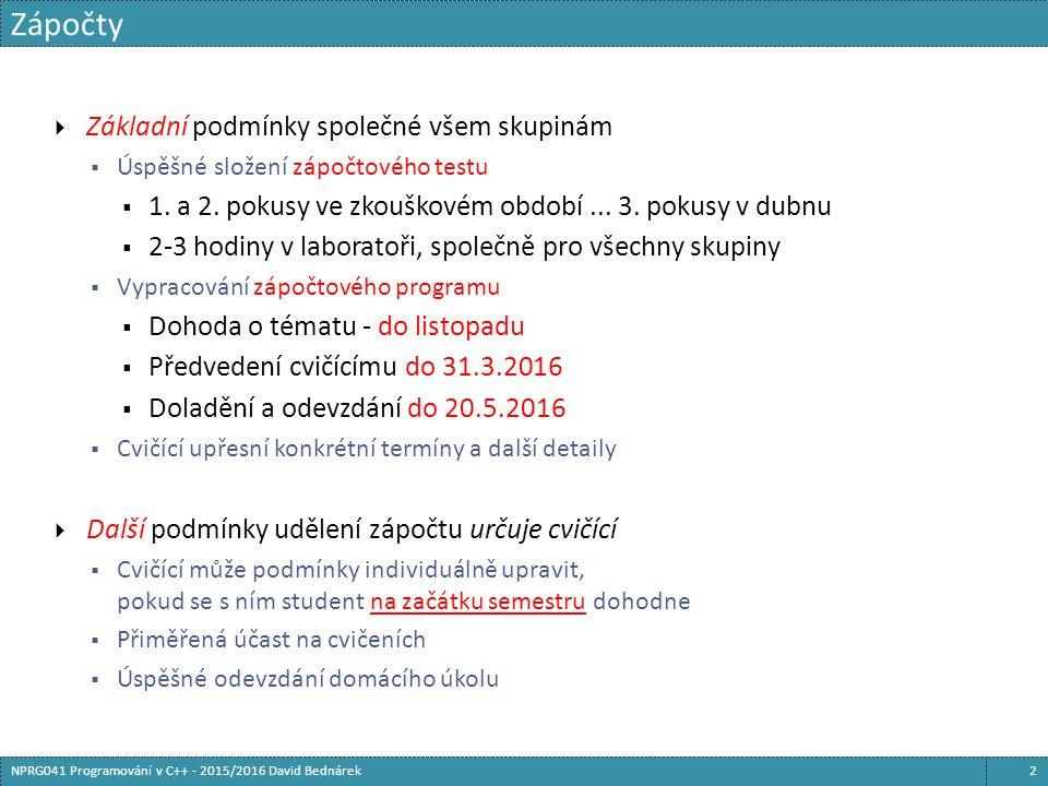 class sender { public: sender( std::shared_ptr ch) : ch_( ch) {} void send_hello() { /*...*/ ch_->send( /*...*/); } private: std::shared_ptr ch_; }; class recipient { public: recipient( std::shared_ptr ch) : ch_( ch) {} void dump_channel() { /*...*/ = ch_->receive(); /*...*/ } private: std::shared_ptr ch_; } class channel { /*...*/ }; std::unique_ptr s; std::unique_ptr r; void init() { std::shared_ptr ch = std::make_shared (); s.reset( new sender( ch)); r.reset( new recipient( ch)); } void kill_sender() { s.reset(); } void kill_recipient() { r.reset(); }  The server and the recipient may be destroyed in any order  The last one will destroy the channel Sdílené vlastnictví 143NPRG041 Programování v C++ - 2015/2016 David Bednárek