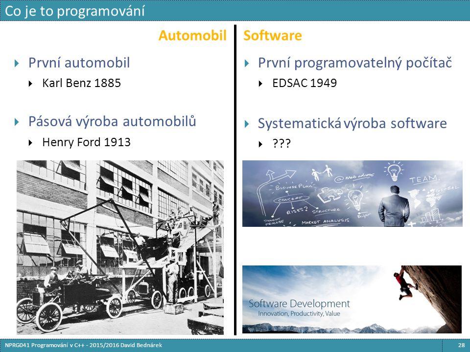 AutomobilSoftware  První automobil  Karl Benz 1885  Pásová výroba automobilů  Henry Ford 1913  První programovatelný počítač  EDSAC 1949  Systematická výroba software  .