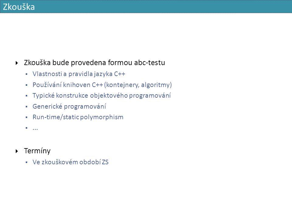 class sender { public: sender( channel * ch) : ch_( ch) {} void send_hello() { /*...*/ ch_->send( /*...*/); } private: channel * ch_; }; class recipient { public: recipient( channel * ch) : ch_( ch) {} void dump_channel() { /*...*/ = ch_->receive(); /*...*/ } private: channel * ch_; } class channel { /*...*/ }; std::unique_ptr ch; std::unique_ptr s; std::unique_ptr r; void init() { ch.reset( new channel); s.reset( new sender( ch.get())); r.reset( new recipient( ch.get())); } void shutdown() { s.reset(); r.reset(); ch.reset(); }  The server and the recipient must be destroyed before the destruction of the channel Přístup bez předání vlastnictví 144NPRG041 Programování v C++ - 2015/2016 David Bednárek
