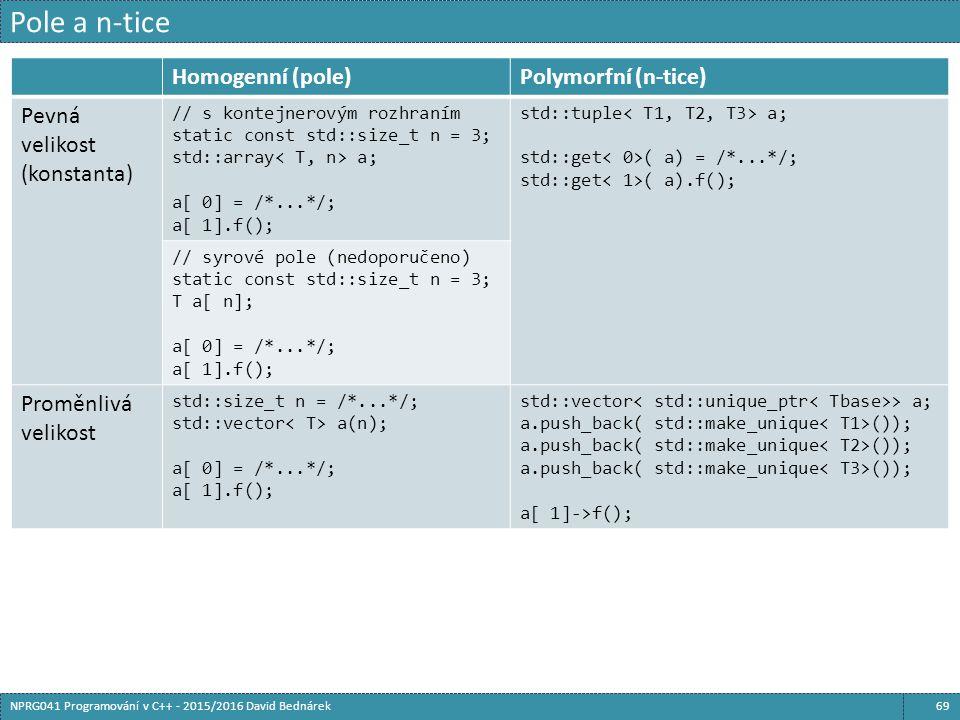 Pole a n-tice 69NPRG041 Programování v C++ - 2015/2016 David Bednárek Homogenní (pole)Polymorfní (n-tice) Pevná velikost (konstanta) // s kontejnerovým rozhraním static const std::size_t n = 3; std::array a; a[ 0] = /*...*/; a[ 1].f(); std::tuple a; std::get ( a) = /*...*/; std::get ( a).f(); // syrové pole (nedoporučeno) static const std::size_t n = 3; T a[ n]; a[ 0] = /*...*/; a[ 1].f(); Proměnlivá velikost std::size_t n = /*...*/; std::vector a(n); a[ 0] = /*...*/; a[ 1].f(); std::vector > a; a.push_back( std::make_unique ()); a[ 1]->f();