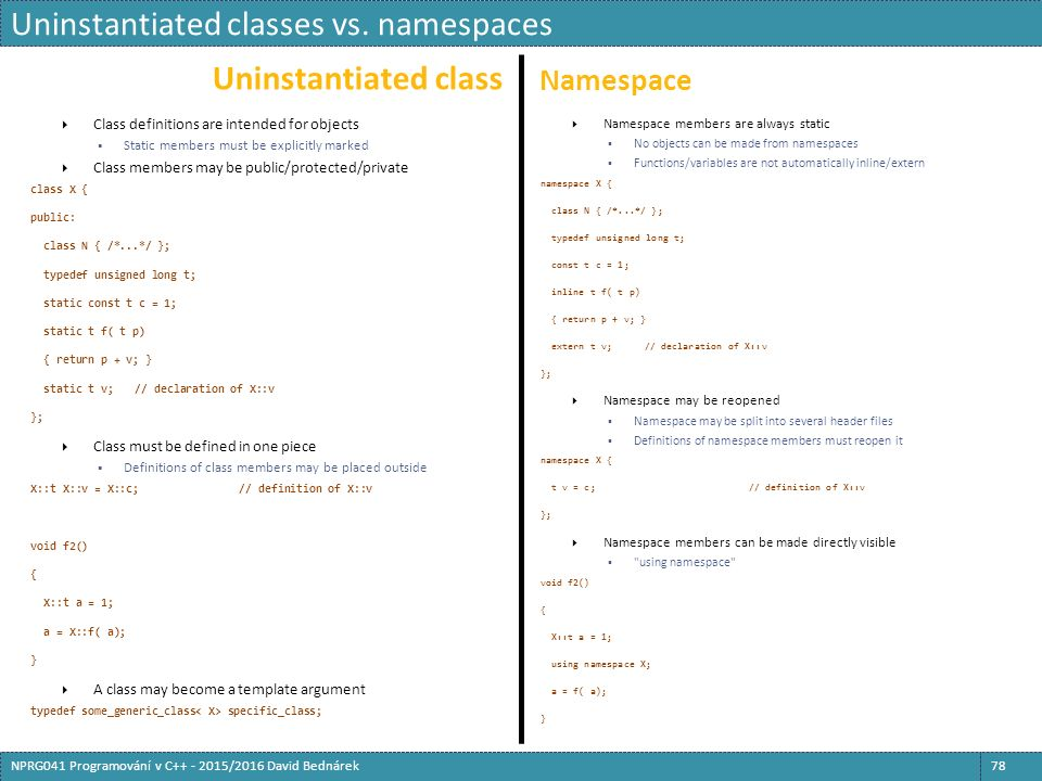 Uninstantiated class Namespace  Class definitions are intended for objects  Static members must be explicitly marked  Class members may be public/protected/private class X { public: class N { /*...*/ }; typedef unsigned long t; static const t c = 1; static t f( t p) { return p + v; } static t v;// declaration of X::v };  Class must be defined in one piece  Definitions of class members may be placed outside X::t X::v = X::c;// definition of X::v void f2() { X::t a = 1; a = X::f( a); }  A class may become a template argument typedef some_generic_class specific_class;  Namespace members are always static  No objects can be made from namespaces  Functions/variables are not automatically inline/extern namespace X { class N { /*...*/ }; typedef unsigned long t; const t c = 1; inline t f( t p) { return p + v; } extern t v;// declaration of X::v };  Namespace may be reopened  Namespace may be split into several header files  Definitions of namespace members must reopen it namespace X { t v = c;// definition of X::v };  Namespace members can be made directly visible  using namespace void f2() { X::t a = 1; using namespace X; a = f( a); } Uninstantiated classes vs.