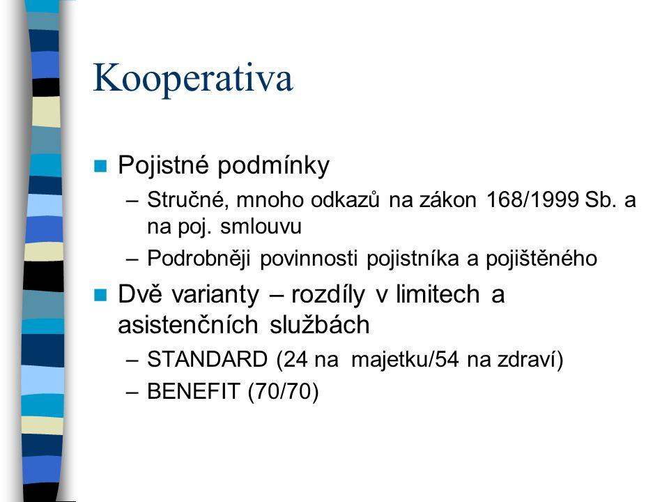 Kooperativa Pojistné podmínky –Stručné, mnoho odkazů na zákon 168/1999 Sb.
