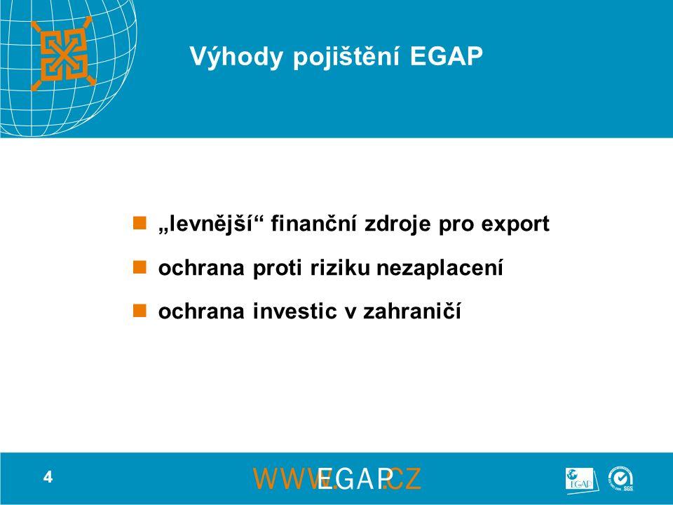 """4 Výhody pojištění EGAP """"levnější finanční zdroje pro export ochrana proti riziku nezaplacení ochrana investic v zahraničí"""