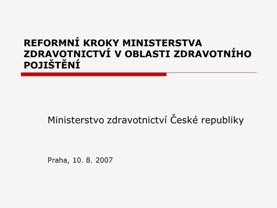 REFORMNÍ KROKY MINISTERSTVA ZDRAVOTNICTVÍ V OBLASTI ZDRAVOTNÍHO POJIŠTĚNÍ Ministerstvo zdravotnictví České republiky Praha, 10.