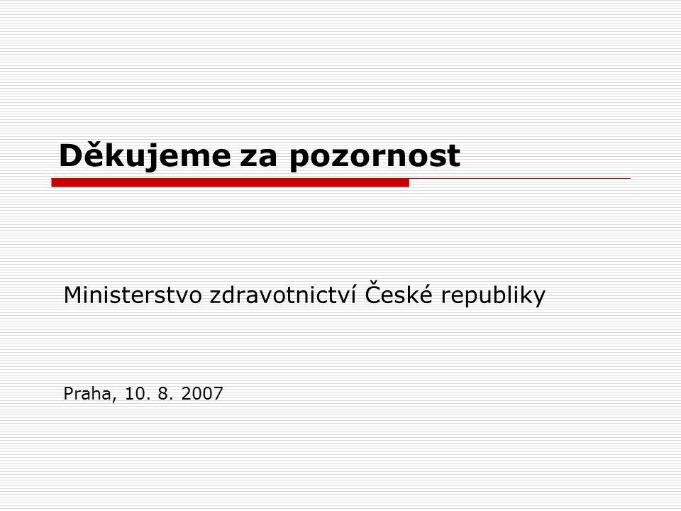 Děkujeme za pozornost Ministerstvo zdravotnictví České republiky Praha, 10. 8. 2007