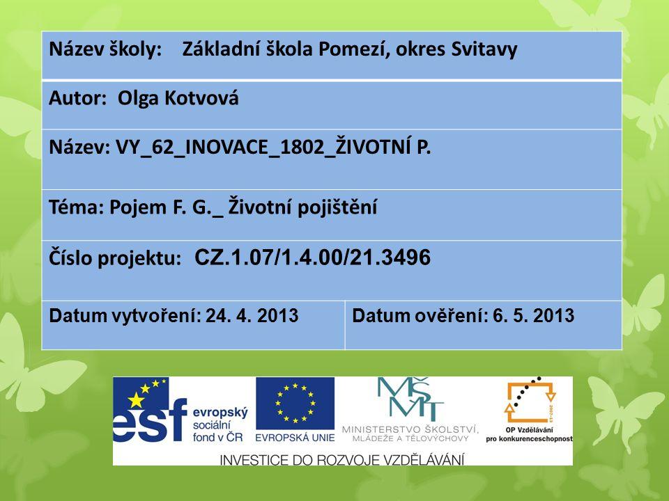 Název školy: Základní škola Pomezí, okres Svitavy Autor: Olga Kotvová Název: VY_62_INOVACE_1802_ŽIVOTNÍ P.