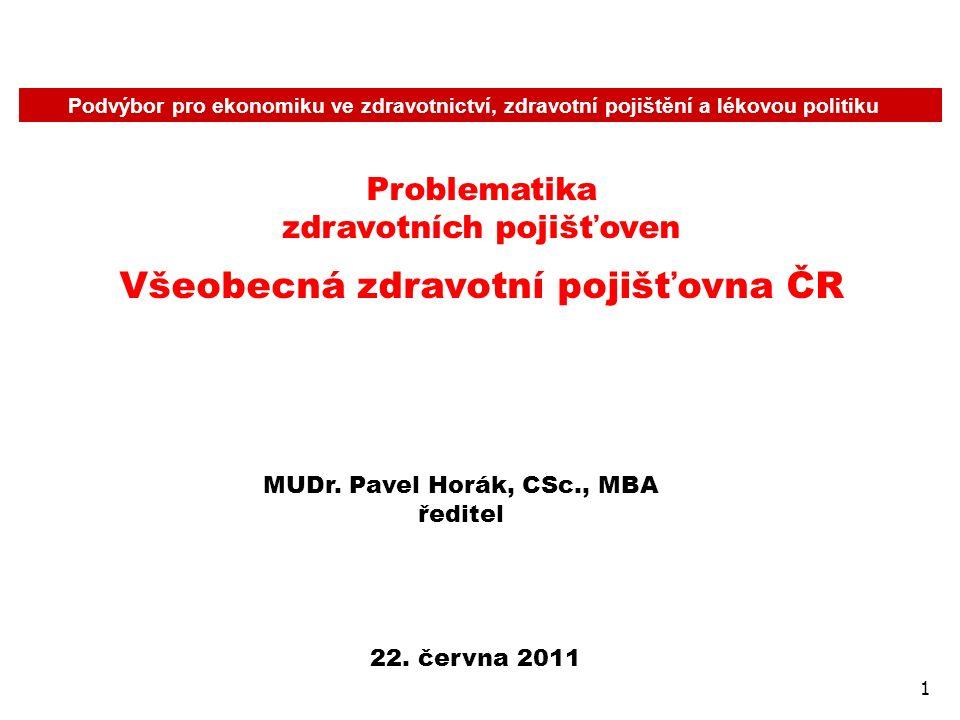 1 Podvýbor pro ekonomiku ve zdravotnictví, zdravotní pojištění a lékovou politiku Problematika zdravotních pojišťoven Všeobecná zdravotní pojišťovna ČR 22.