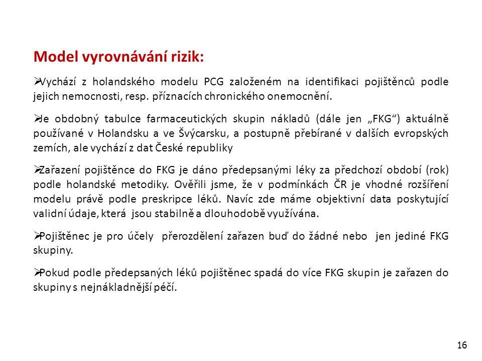 16 Model vyrovnávání rizik:  Vychází z holandského modelu PCG založeném na identifikaci pojištěnců podle jejich nemocnosti, resp.