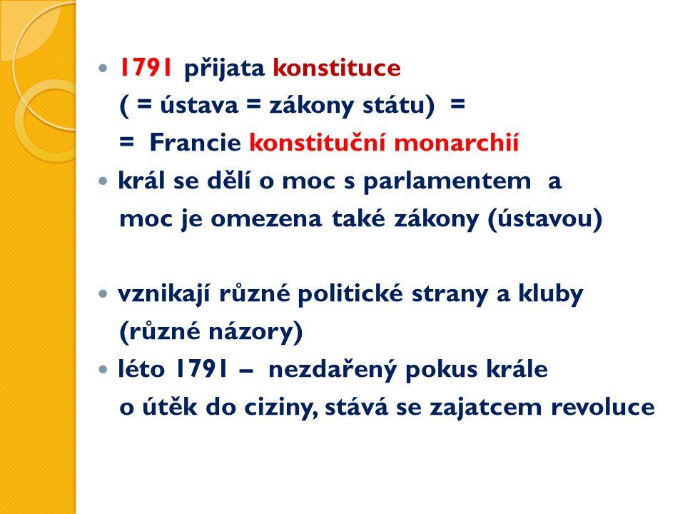 1791 přijata konstituce ( = ústava = zákony státu) = = Francie konstituční monarchií král se dělí o moc s parlamentem a moc je omezena také zákony (ústavou) vznikají různé politické strany a kluby (různé názory) léto 1791 – nezdařený pokus krále o útěk do ciziny, stává se zajatcem revoluce