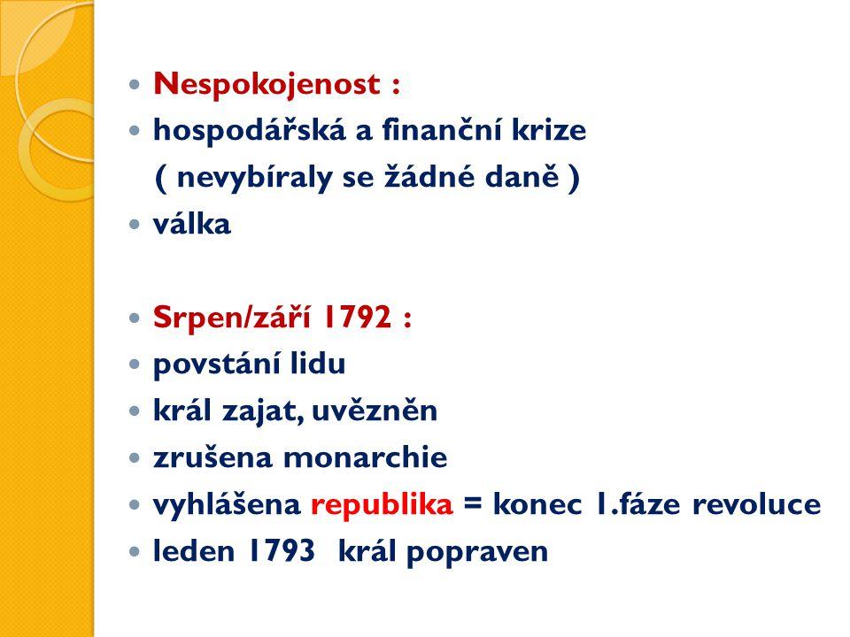 Nespokojenost : hospodářská a finanční krize ( nevybíraly se žádné daně ) válka Srpen/září 1792 : povstání lidu král zajat, uvězněn zrušena monarchie vyhlášena republika = konec 1.fáze revoluce leden 1793 král popraven