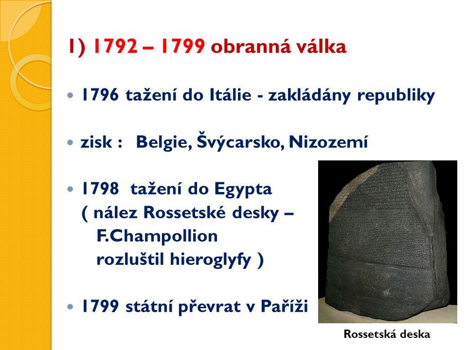 1) 1792 – 1799 obranná válka 1796 tažení do Itálie - zakládány republiky zisk : Belgie, Švýcarsko, Nizozemí 1798 tažení do Egypta ( nález Rossetské desky – F.Champollion rozluštil hieroglyfy ) 1799 státní převrat v Paříži Rossetská deska