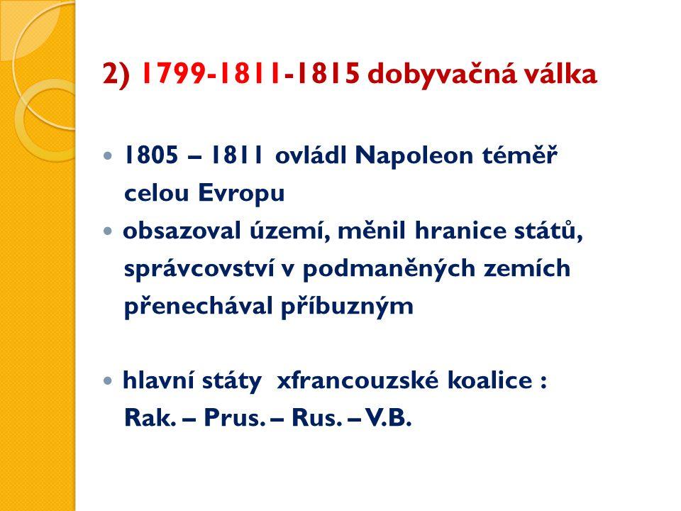 2) 1799-1811-1815 dobyvačná válka 1805 – 1811 ovládl Napoleon téměř celou Evropu obsazoval území, měnil hranice států, správcovství v podmaněných zemí