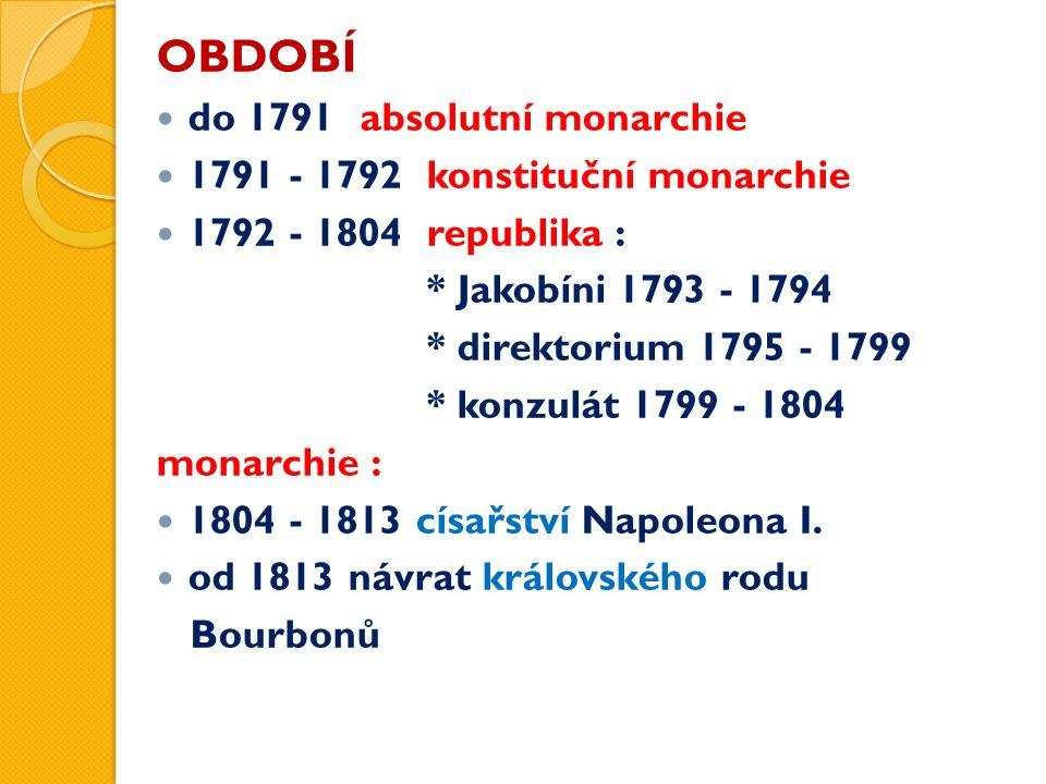 OBDOBÍ do 1791 absolutní monarchie 1791 - 1792 konstituční monarchie 1792 - 1804 republika : * Jakobíni 1793 - 1794 * direktorium 1795 - 1799 * konzul