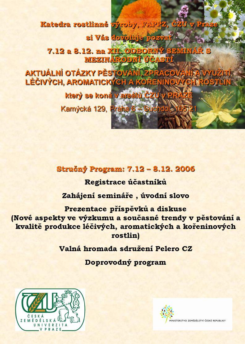 Stručný Program: 7.12 – 8.12.