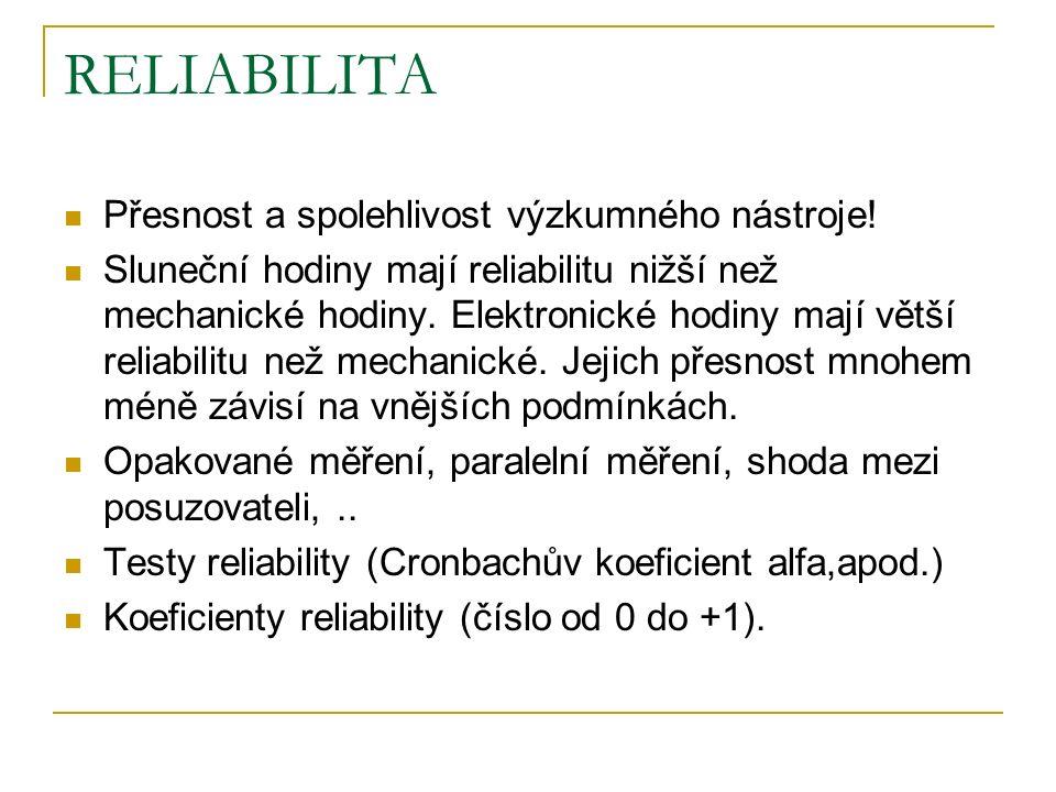 RELIABILITA Přesnost a spolehlivost výzkumného nástroje.