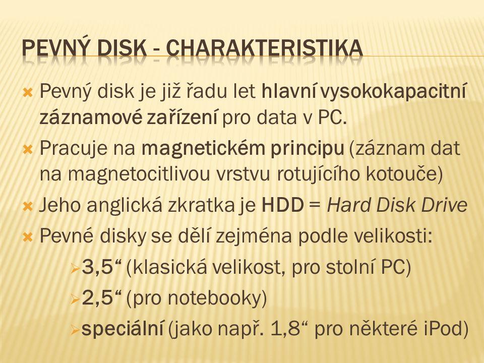  Pevný disk je již řadu let hlavní vysokokapacitní záznamové zařízení pro data v PC.