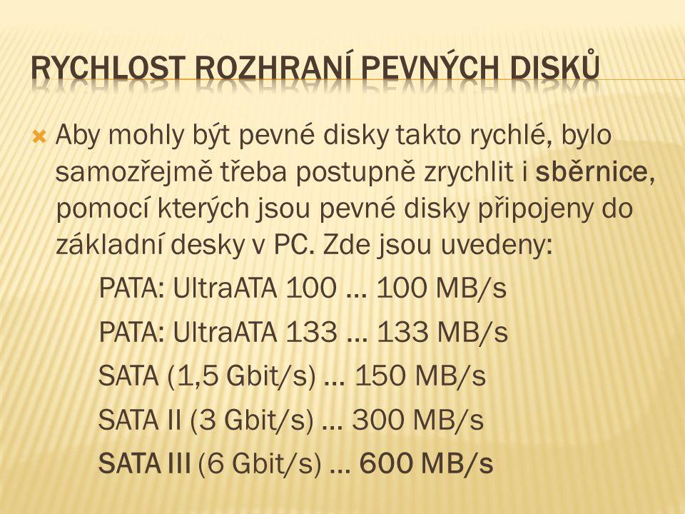  Aby mohly být pevné disky takto rychlé, bylo samozřejmě třeba postupně zrychlit i sběrnice, pomocí kterých jsou pevné disky připojeny do základní desky v PC.