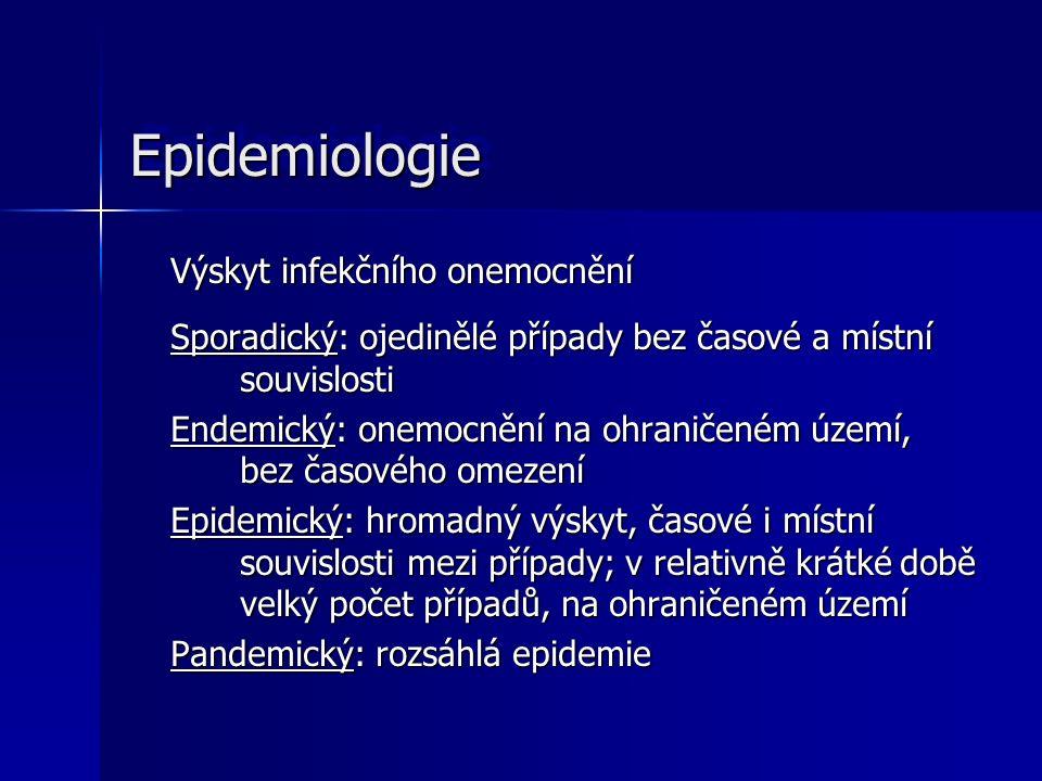 EpidemiologieEpidemiologie Výskyt infekčního onemocnění Sporadický: ojedinělé případy bez časové a místní souvislosti Endemický: onemocnění na ohranič
