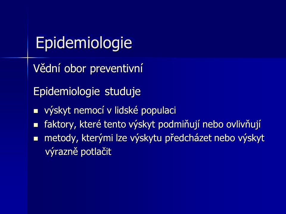 EpidemiologieEpidemiologie Vědní obor preventivní Epidemiologie studuje výskyt nemocí v lidské populaci výskyt nemocí v lidské populaci faktory, které tento výskyt podmiňují nebo ovlivňují faktory, které tento výskyt podmiňují nebo ovlivňují metody, kterými lze výskytu předcházet nebo výskyt metody, kterými lze výskytu předcházet nebo výskyt výrazně potlačit výrazně potlačit