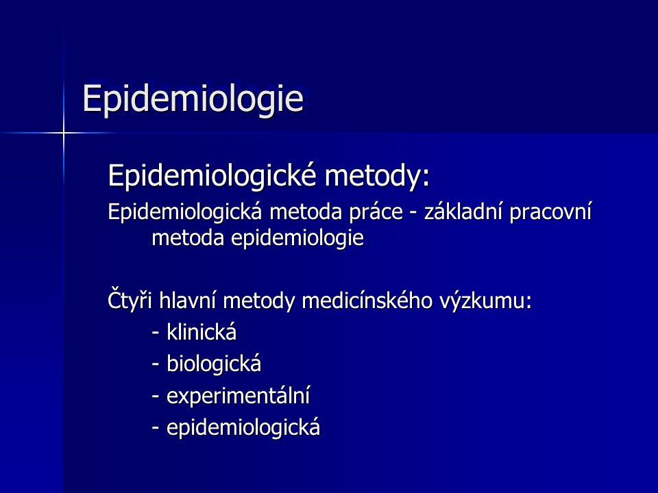 EpidemiologieEpidemiologie Epidemiologické metody: Epidemiologická metoda práce - základní pracovní metoda epidemiologie Čtyři hlavní metody medicínsk