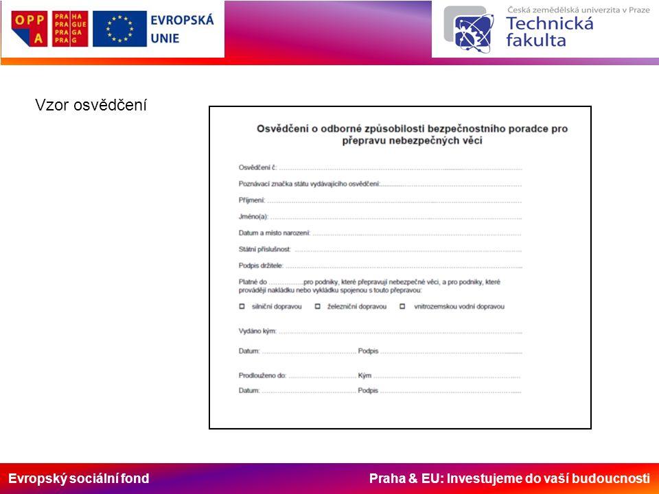 Evropský sociální fond Praha & EU: Investujeme do vaší budoucnosti Vzor osvědčení