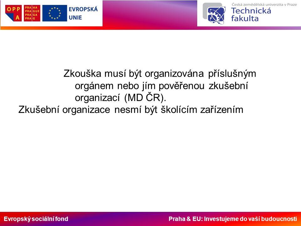 Evropský sociální fond Praha & EU: Investujeme do vaší budoucnosti Zkouška musí být organizována příslušným orgánem nebo jím pověřenou zkušební organizací (MD ČR).