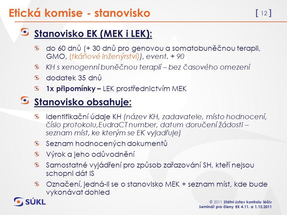 [ 12 ] © 2011 Státní ústav kontrolu léčiv Seminář pro členy EK 4.11.