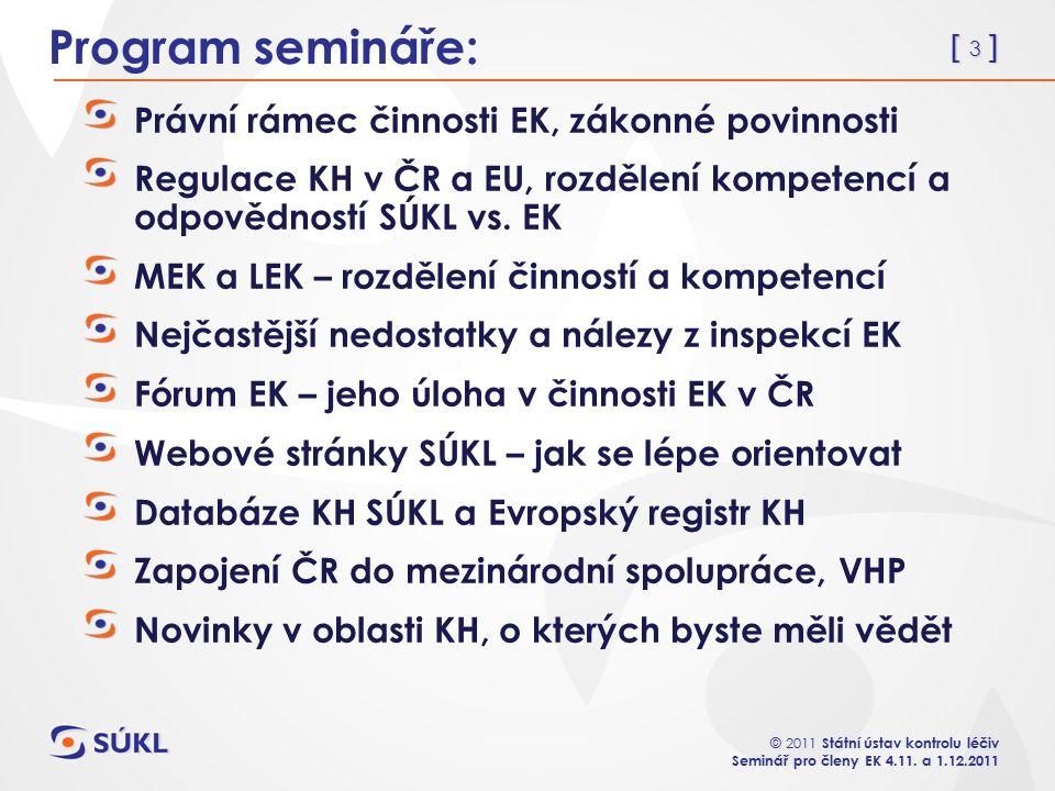 [ 3 ] © 2011 Státní ústav kontrolu léčiv Seminář pro členy EK 4.11.
