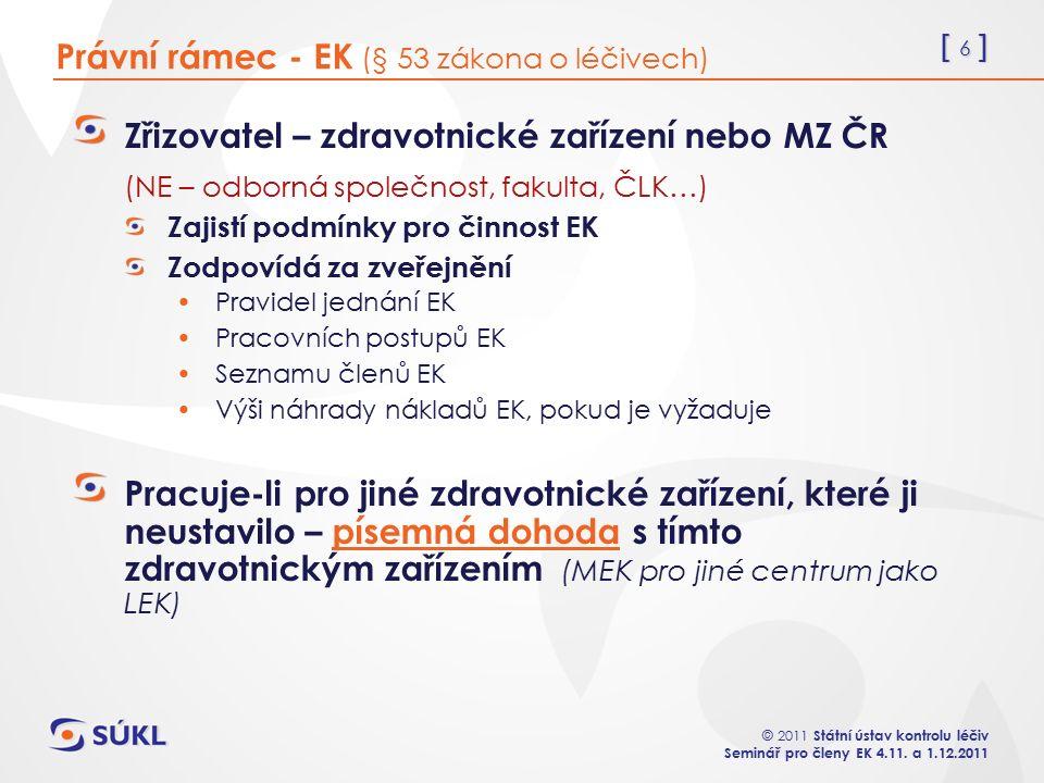 [ 6 ] © 2011 Státní ústav kontrolu léčiv Seminář pro členy EK 4.11.