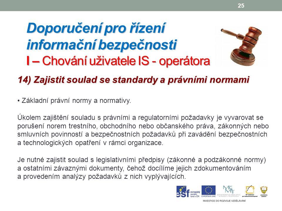 25 14) Zajistit soulad se standardy a právními normami Základní právní normy a normativy.