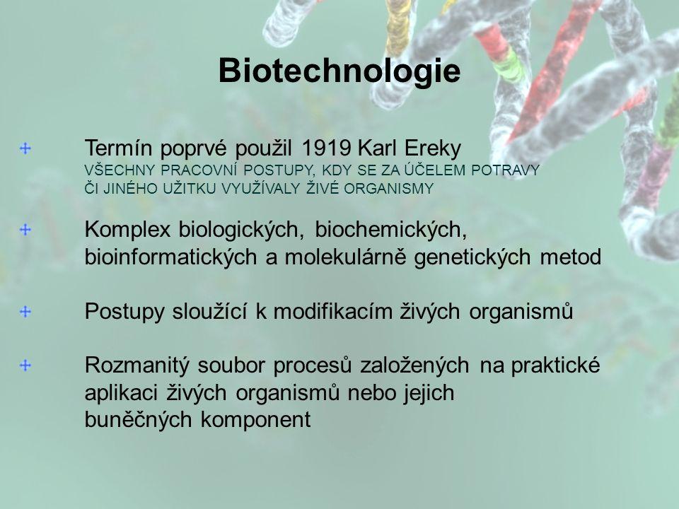 Termín poprvé použil 1919 Karl Ereky VŠECHNY PRACOVNÍ POSTUPY, KDY SE ZA ÚČELEM POTRAVY ČI JINÉHO UŽITKU VYUŽÍVALY ŽIVÉ ORGANISMY Komplex biologických, biochemických, bioinformatických a molekulárně genetických metod Postupy sloužící k modifikacím živých organismů Rozmanitý soubor procesů založených na praktické aplikaci živých organismů nebo jejich buněčných komponent Biotechnologie