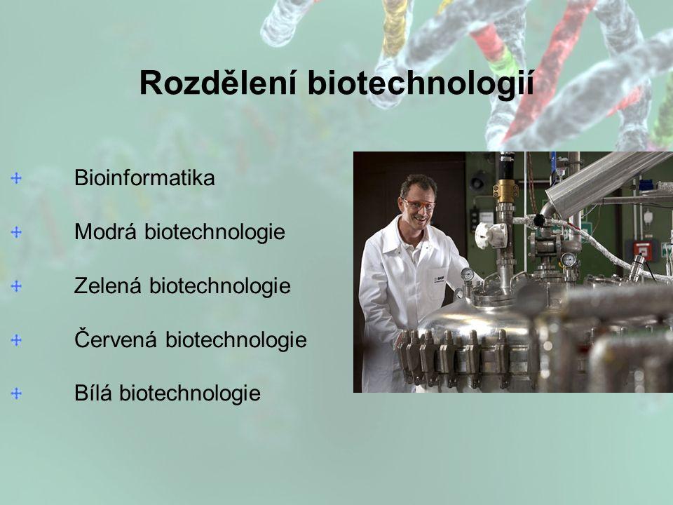 Rozdělení biotechnologií Bioinformatika Modrá biotechnologie Zelená biotechnologie Červená biotechnologie Bílá biotechnologie