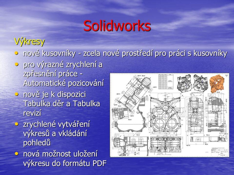 Solidworks Výkresy nové kusovníky - zcela nové prostředí pro práci s kusovníky nové kusovníky - zcela nové prostředí pro práci s kusovníky pro výrazné zrychlení a zpřesnění práce - Automatické pozicování pro výrazné zrychlení a zpřesnění práce - Automatické pozicování nově je k dispozici Tabulka děr a Tabulka revizí nově je k dispozici Tabulka děr a Tabulka revizí zrychlené vytváření výkresů a vkládání pohledů zrychlené vytváření výkresů a vkládání pohledů nová možnost uložení výkresu do formátu PDF nová možnost uložení výkresu do formátu PDF