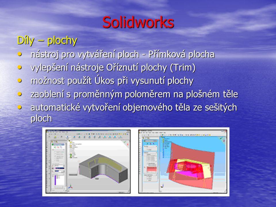 Solidworks Svařování sada nástrojů a funkcí pro rychlé a komfortní modelování svařovaných konstrukcí: sada nástrojů a funkcí pro rychlé a komfortní modelování svařovaných konstrukcí: nosníky a profily nosníky a profily výztužná žebra výztužná žebra záslepky záslepky svary, svarové housenky, přerušovaný svar svary, svarové housenky, přerušovaný svar seznam komponentů ve svařované konstrukci seznam komponentů ve svařované konstrukci podpora ve výkresech podpora ve výkresech