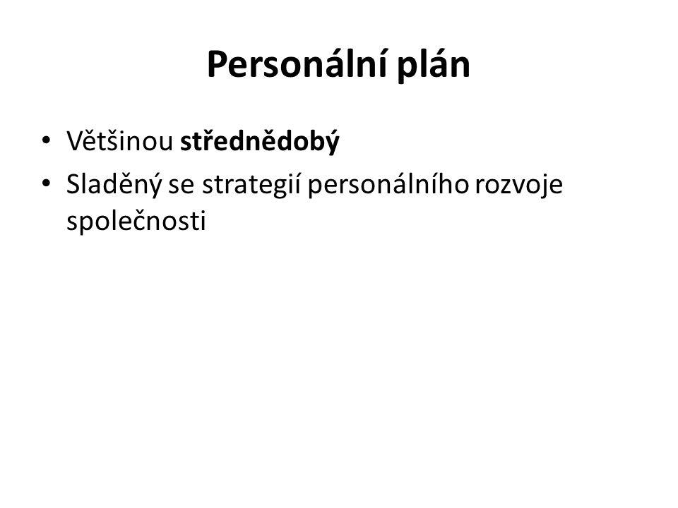 Personální plán Většinou střednědobý Sladěný se strategií personálního rozvoje společnosti