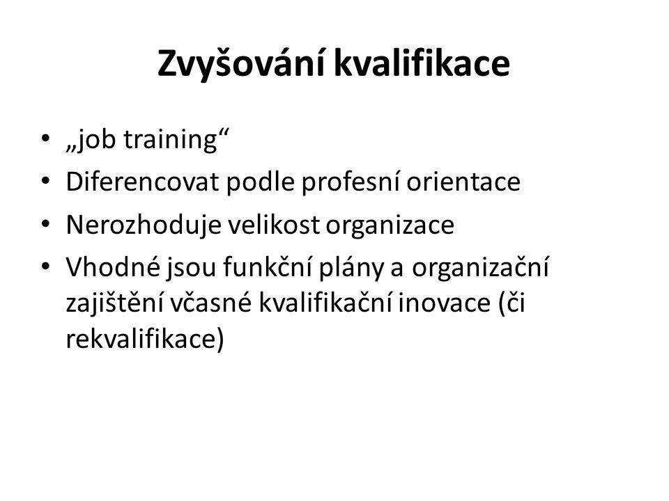 """Zvyšování kvalifikace """"job training Diferencovat podle profesní orientace Nerozhoduje velikost organizace Vhodné jsou funkční plány a organizační zajištění včasné kvalifikační inovace (či rekvalifikace)"""