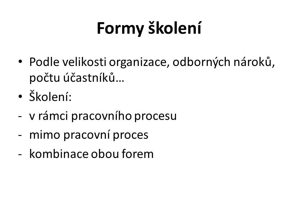 Formy školení Podle velikosti organizace, odborných nároků, počtu účastníků… Školení: -v rámci pracovního procesu -mimo pracovní proces -kombinace obou forem