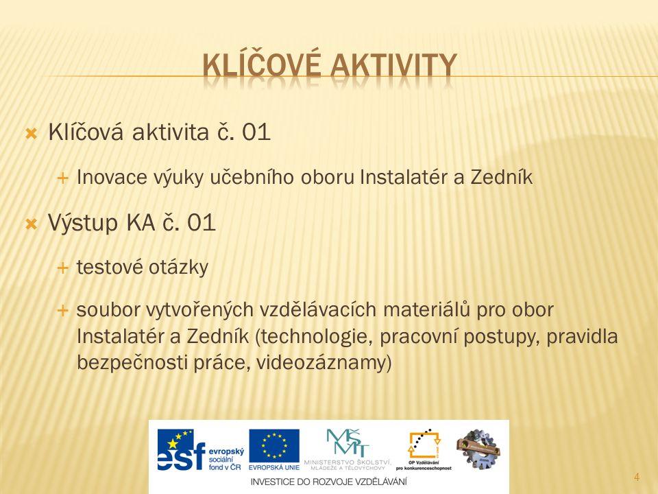 4  Klíčová aktivita č. 01  Inovace výuky učebního oboru Instalatér a Zedník  Výstup KA č.