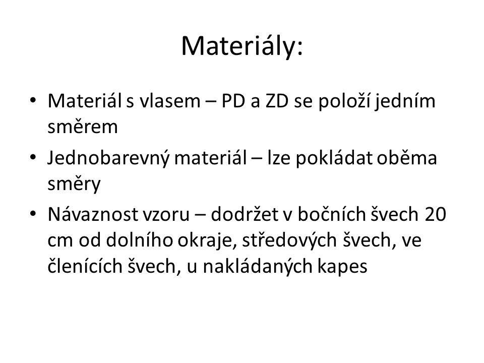 Materiály: Materiál s vlasem – PD a ZD se položí jedním směrem Jednobarevný materiál – lze pokládat oběma směry Návaznost vzoru – dodržet v bočních švech 20 cm od dolního okraje, středových švech, ve členících švech, u nakládaných kapes