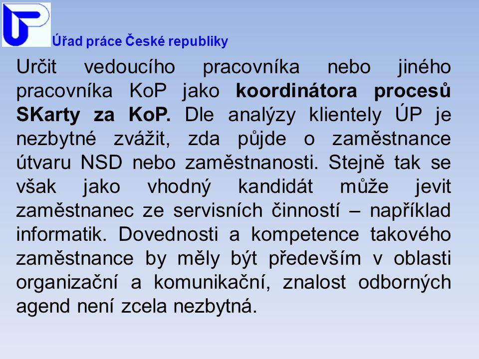 Úřad práce České republiky Určit vedoucího pracovníka nebo jiného pracovníka KoP jako koordinátora procesů SKarty za KoP.