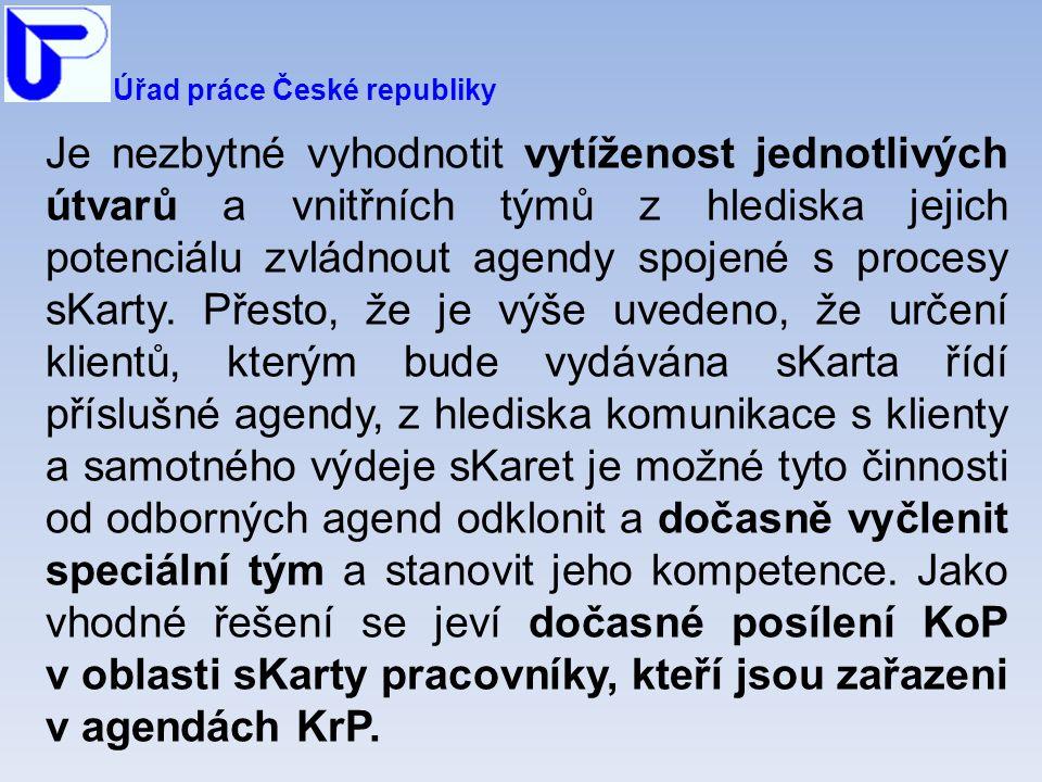 Úřad práce České republiky Je nezbytné vyhodnotit vytíženost jednotlivých útvarů a vnitřních týmů z hlediska jejich potenciálu zvládnout agendy spojené s procesy sKarty.